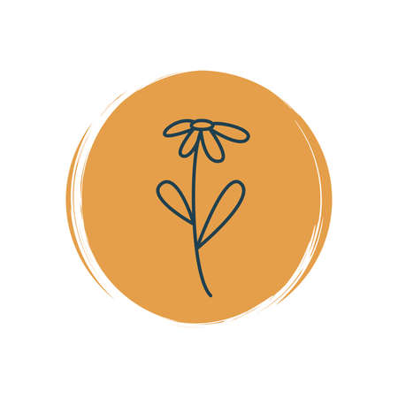 Cute logo or icon vector with daisy flower in contemporary boho style, illustration on circle with brush texture, for social media story and highlights