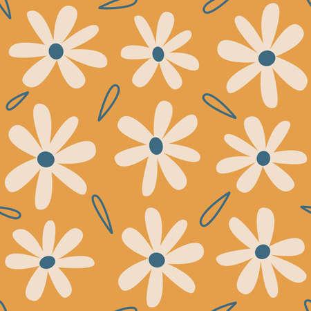 Cute lovely seamless vector pattern background illustration with daisy flowers Ilustração