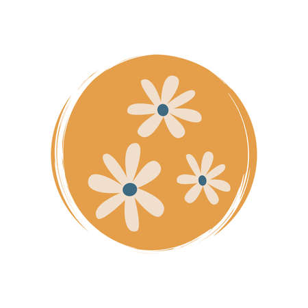 Cute logo or icon vector with daisy flowers in contemporary boho style, illustration on circle with brush texture, for social media story and highlights Ilustração
