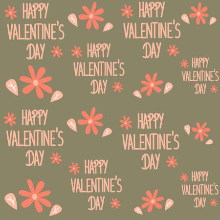 cute lovely romantic seamless vector pattern background illustration with happy valentine's day text and flowers