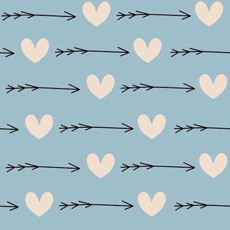 Cute lovely seamless vector pattern background illustration with hearts and arrows