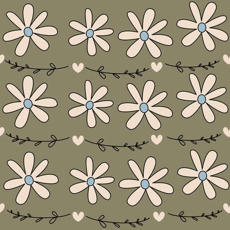 Cute lovely seamless vector pattern illustration with daisy flowers, hearts and romatic branch on vintage green background