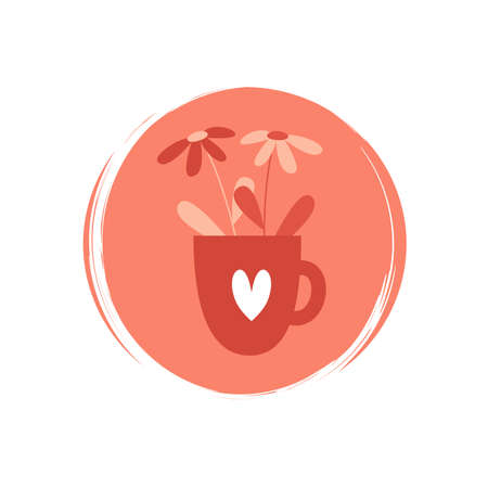 Cute logo or icon vector with daisy flower in a cup with heart, illustration on circle with brush texture, for social media story and highlights