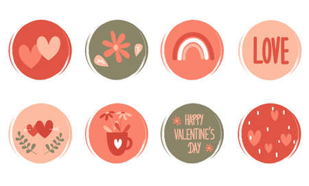 Vector set of logo design templates, icons and badges for social media highlight with cute valentine's day elements