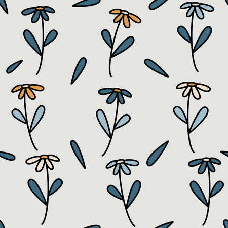 Cute lovely seamless vector pattern background illustration with colorful daisy flowers