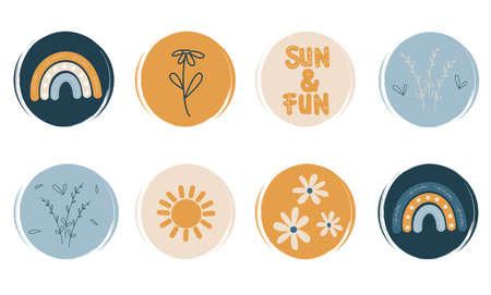 cute Vector set of logo design templates, icons and badges for social media highlight in bohemina style with flowers, branches, sun, rainbows and other elements