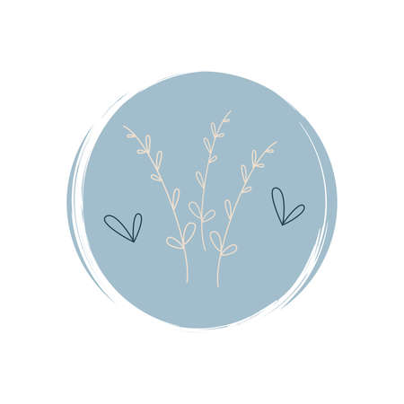 Cute logo or icon vector with branch and leaves in contemporary boho style, illustration on circle with brush texture, for social media story and highlights