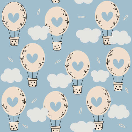 Cute lovely seamless vector pattern background illustration with hot air balloons in the sky with hearts