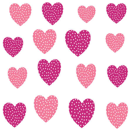 cute pink seamless vector pattern background illustration design with dotted hearts