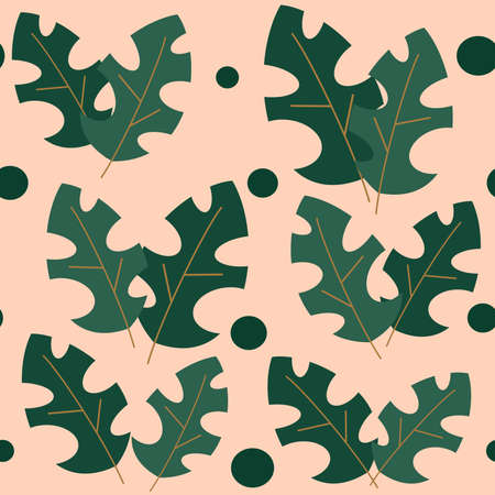 cute seamless vector pattern background illustration with tropical leaves and geometric shapes