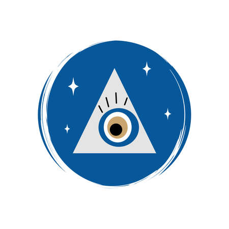 Cute esoteric magic greek evil eye icon vectorin a pyramid, illustration on circle with brush texture, for social media story and highlights