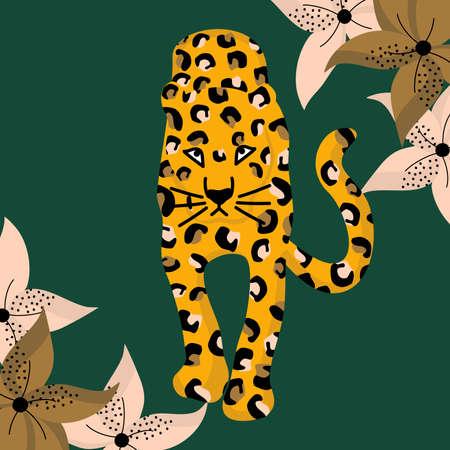 cute vector card illustration with leopard and flowers Ilustração