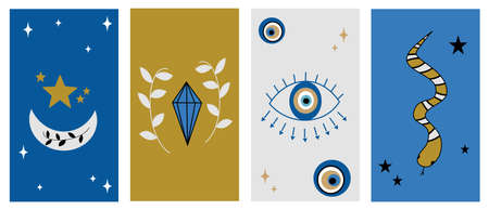 Vector set of abstract mystic logo design templates in simple linear style with moon, stars and eye elements symbols for social media stories highlights and posts
