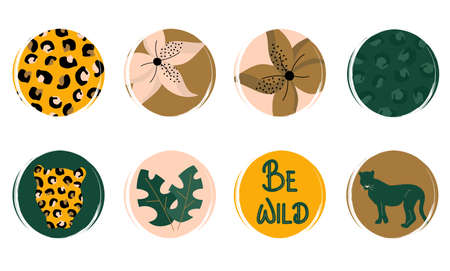 Vector set of logo design templates, icons and badges for social media highlight with cute jungle and wildlife elements