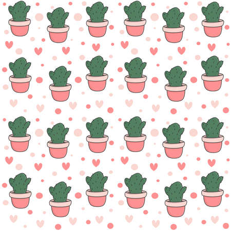 cute potted cactus seamless vector pattern background illustration with hearts and dots