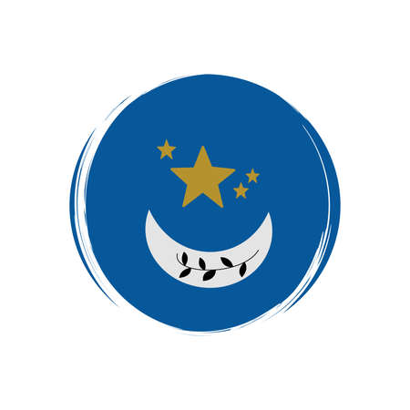 Cute esoteric icon vector with moon and stars, illustration on circle with brush texture, for social media story and highlights