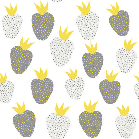 Cute minimal abstract yellow and gray seamless vector pattern background illustration with patterned strawberries