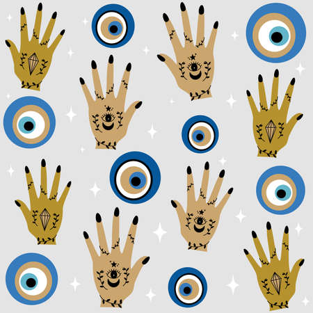 Cute seamless design vector pattern background illustration with greek evil eyes, human female hand and stars