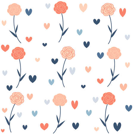 Cute lovely seamless vector pattern background illustration with roses and hearts