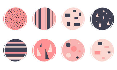 Vector set of logo design templates, icons and badges for social media highlight with abstract geometric shapes