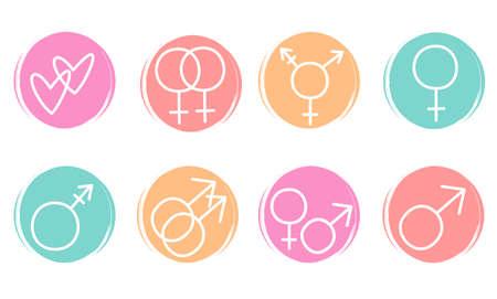Cute vector set of logo design templates, icons and badges for social media highlights with gender symbols Ilustração