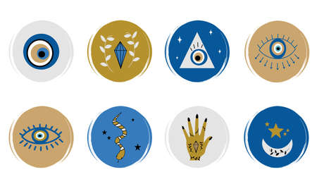 Vector set of logo design templates, icons and badges for social media highlights covers with cute hands, moon, stars, evil eyes and other esoteric elements Ilustração