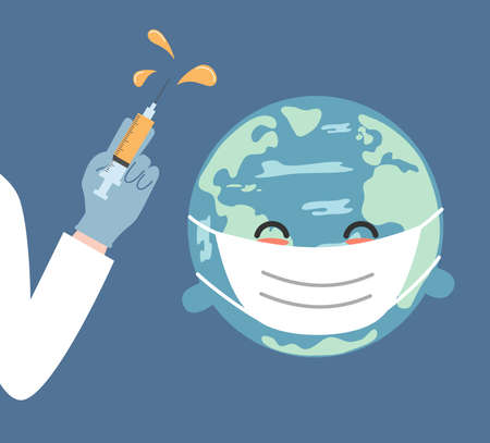 cute cartoon character planet earth and human hand with vaccine coronavirus concept vector illustration