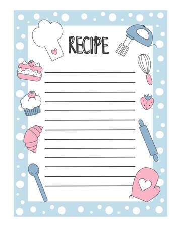 Cute hand drawn recipe list vector design illustration with cartoon cupcake, strawberry, chef hat, cake and some kitchen tools