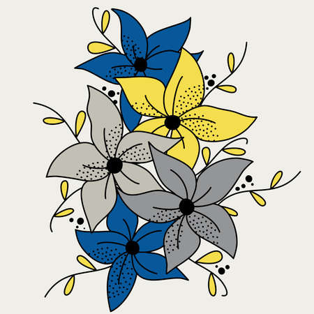 Cute hand drawn flowers with branches vector illustration