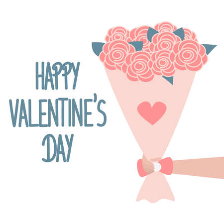 cute hand drawn lettering happy valentine's day vector card with bouquet of flowers Ilustração