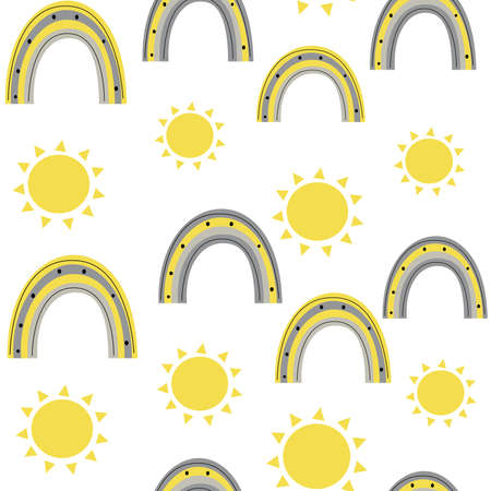 Cute yellow and gray seamless vector pattern background illustration with rainbow and sun