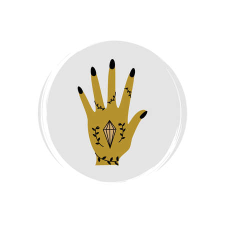 Cute esoteric icon vector with female hand with crystal, gem, stone, illustration on circle with brush texture, for social media story and highlights Ilustração