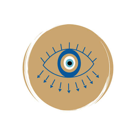 Cute esoteric magic evil eye icon vector, illustration on circle with brush texture, for social media story and highlights Ilustração