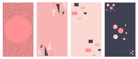 Vector set of abstract lovely logo design templates with abstract geometric shapes for social media stories highlights and posts