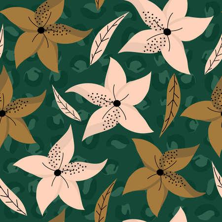 Cute contemporary florals seamless vector pattern background illustration design Ilustração