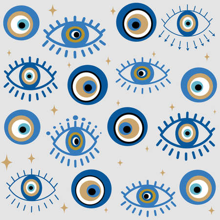 Cute seamless design vector pattern background illustration with greek evil eyes and stars