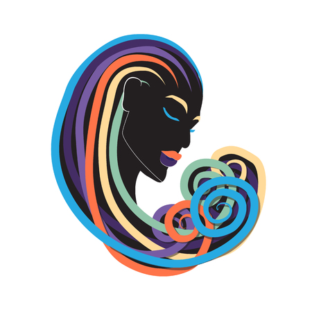 Black Beauty Woman with Dreads Colorful Curling Hair Illustration