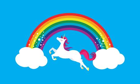 Happy Unicorn Magic Rainbow Sky Sparkling Magical Fun for Kids Stok Fotoğraf - 116879806