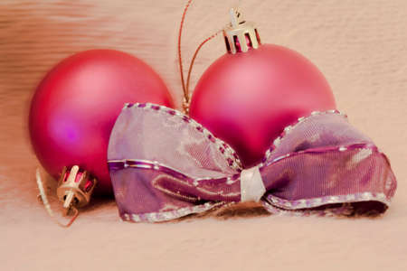 detail of christmas balls with bow