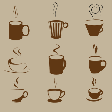 Vectors of cups and coffee mugs Vector