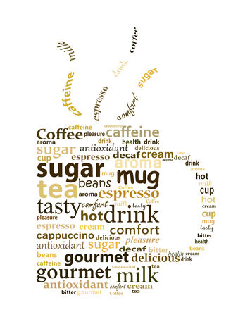 Illustration made with words related to coffee illustration