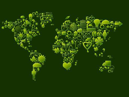planisphere: Diversi elementi ecologici nei colori verde e yeloow Archivio Fotografico