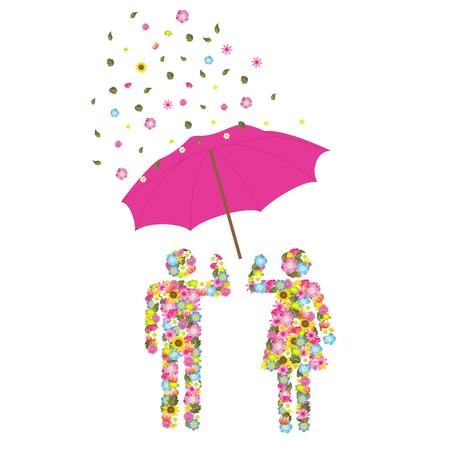 rain cartoon: Couple Illustration