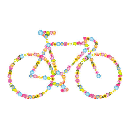 Flowers in bicycle Vector