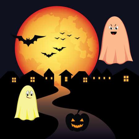 moon  owl  silhouette: halloween Illustration