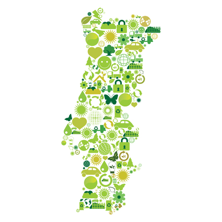 made in portugal: Portugal map made with ecological symbols