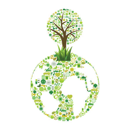 Planet made with ecological symbols Illustration