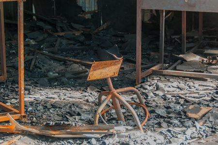 Detail of a building destroyed by fire Stock Photo