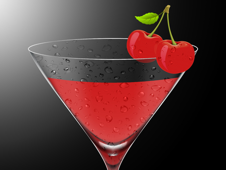 Illustration of a cherry cocktail
