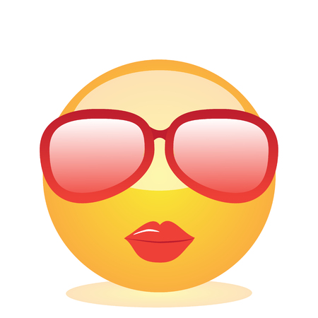 Emoji of a face of a lady with glasses